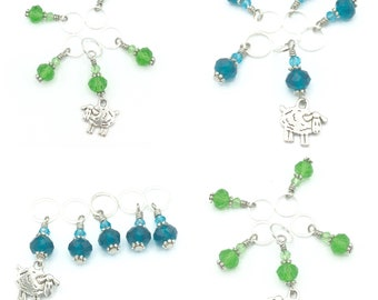 turquoise sheep stitch markers-green sheep stitch markers-set of 5 progress keepers-snag free stitch markers-gift for knitter-crochet gift