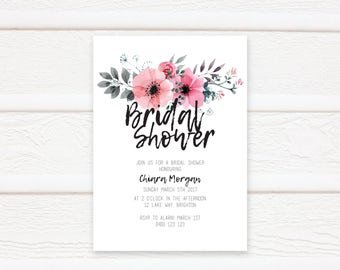 Floral Bridal Shower Invitation, Printable Bridal Shower Invitation, Bridal Shower Invites, Kitchen Tea
