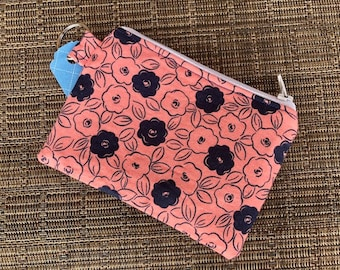 zippered pouch, pouch, zippered coin purse, coral, blue, flowers