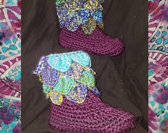 Dragon scale booties/ crochet crocodile stitch slippers/ elvish slipper/ leafy faerie booties/ fairy shoes/ purple blue green crochet slips