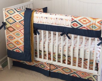Tribal Baby Boy Crib Bedding Set Navy Gold Mint Made to Order Blanket Sheet Skirt Only