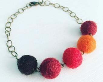 Paulina Felt Bracelet in Cayenne