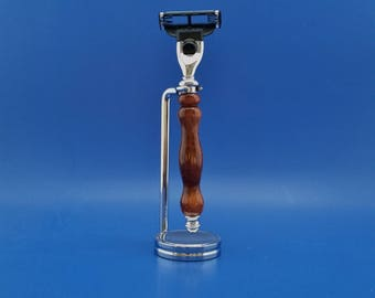 Handcrafted Razor Handle and stand, Acrylic, chrome, Mach3 or Fusion