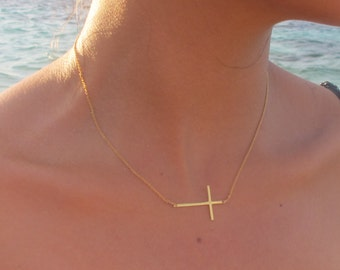 18k gold cross etsy long skinny gold sideways cross necklace 18k gold sideways cross necklace cross off centered or centered you choose aloadofball