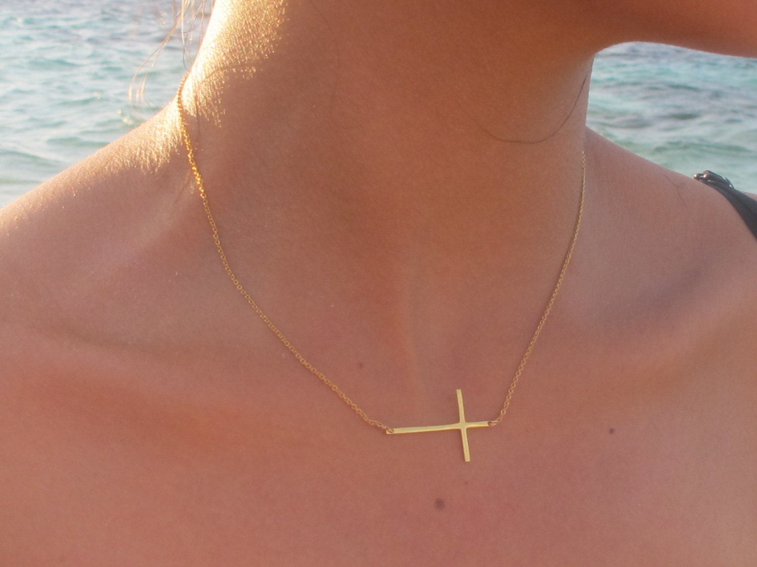 v silver plated sideways gold cross bluefly necklace yellow p com width adornia
