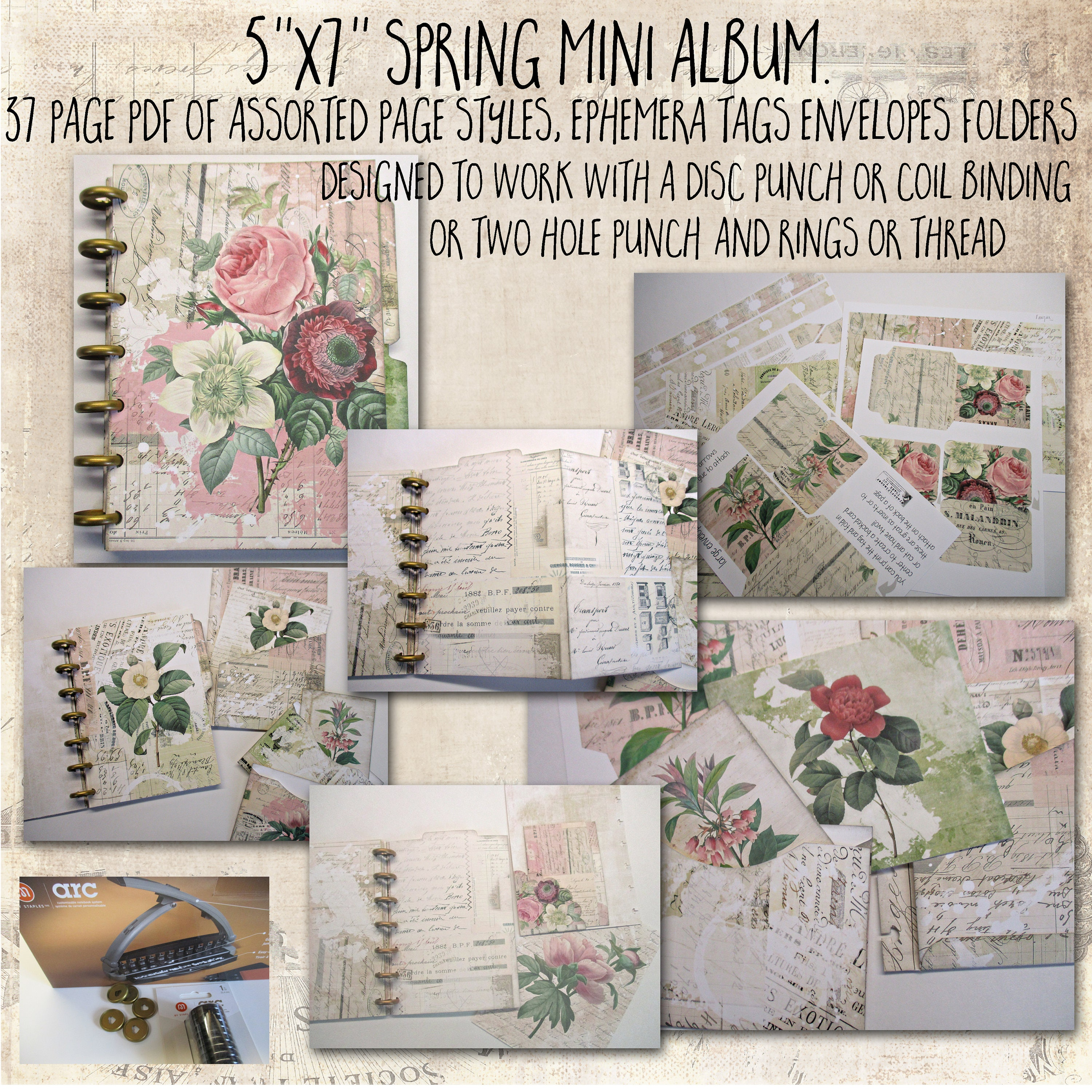 Mini Spring Album, 5x7, Junk Journal, 37 printable pages ...
