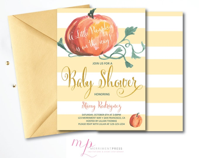 Pumpkin Baby Shower Invitation // Little Pumpkin // Watercolor // Calligraphy // FauX Gold Foil // Stripes // NEW ENGLAND COLLECTION