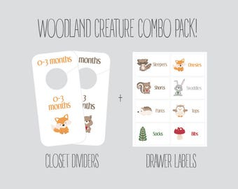 COMBO PACK - Woodland Creature Closet Dividers and Drawer labels, Nursery, Animals, baby boy, baby girl, baby shower gift, Organization