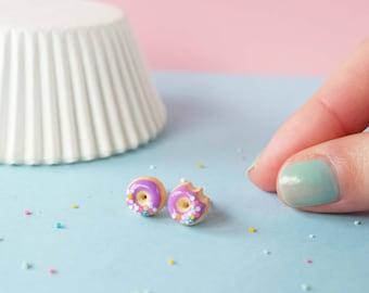 Violet Donut earrings, Miniature food earrings, Ultra Violet Pantone 2018 - Donut earrings - sweet jewelry - lavender earrings, polymer clay