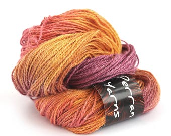 Light worsted DK yarn, hand dyed double knitting linen silk baby alpaca blend yarn skein Perran Yarns Sunset Party red orange gold