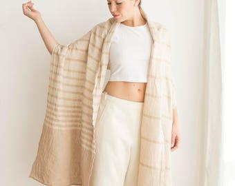 Linen shawl light cream, Large Pure linen scarf, Oversized wrap, Summer accessory