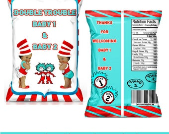 Thing1-2 Baby Shower Favor Bag-Custom Chip Bag-Thing1-2 Baby shower -Dr.Suess-Digital-Printable-Printed-Chip Bags