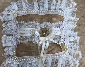 Wedding Ring Pillow in Natural Burlap Vintage Laces Handmade Shabby Chic Inspired