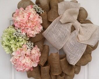 Burlap Wreath, Summer, Hydrangea, Spring Wreath, Hydrangea Wreath, Modern, Front Door, Wreath for All Year, Welcome Wreath, Home Decor