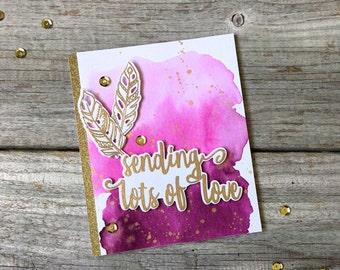 Sending Lots of Love -Handmade Watercolor Card