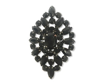 Vintage Black Rhinestone Brooch From The 1980's