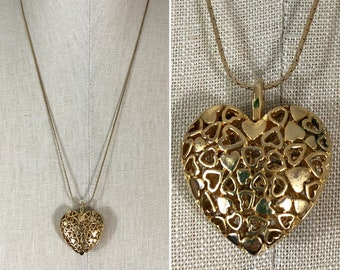 80s Gold 3-D Heart Long Chain Pendant Necklace