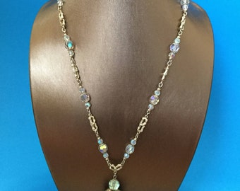 70s VENDOME Long Aurora Borealis Crystal & Gold Nugget Links Vintage Chandelier Necklace