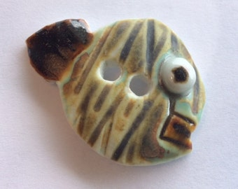 Mr. Personality Fish: one-of-a-kind, moss olive green with brown, rust, & white, 1.75-inch-long, handmade porcelain ceramic button