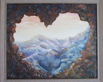 Heart of the mountains, original oil painting, landscape painting, landscape oil painting on canvas, nature oil landscape painting