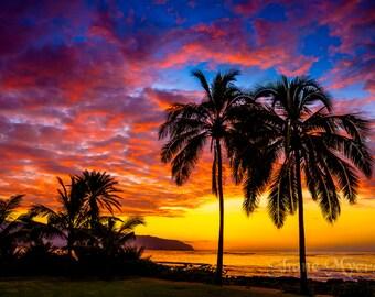 "Aluminum/Canvas Fine Art image of Beautiful Hawaiian Sunset titled ""Paradise"""