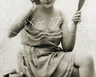 ANTIQUE FRENCH Pin Up Beautiful Woman In Sun Dress Home Decor Vintage Photograph Wall Art Vintage Postcard Photography Paris Pinup - 1371