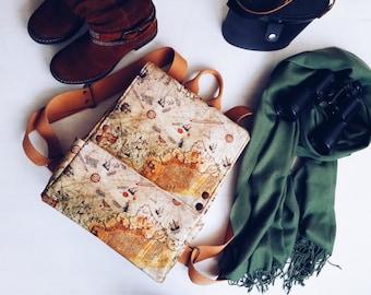 Piri Reis Map Prints Backpack , Vintage Rucksack ,Historical , Ottoman