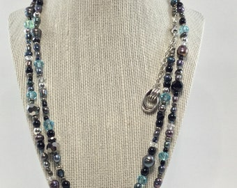 Extra Long Gray Freshwater Pearl and Crystal Necklace