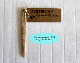 "Toothbrush Rag Rug Tool/Rug Tool/ Amish Knot Toothbrush Rug Tool/ 4"" wood rug needle/Rag Making/Toothbrush Rug Needle/Rug Supplies"