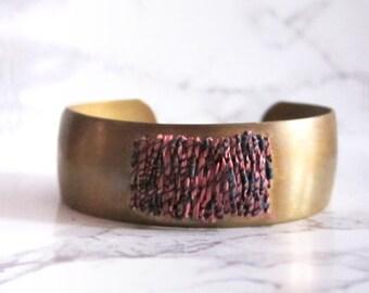 Brass Cuff Bracelet - woven tapestry - fabric bracelet - woven bracelet // PINK TEXTURED CUFF - minimal cuff bracelet