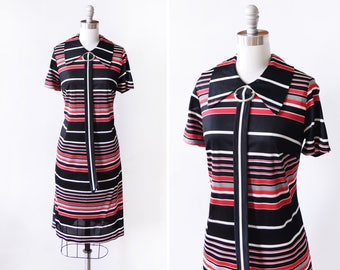 60s scooter dress, vintage 1960s dress, black + red + white horizontal striped mod dress, medium m