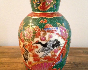 Classic Oriental Green & Rust  Vase M431-6