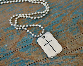 Cross Necklace, Hand Forged & Stamped,Mens Cross Necklace,Gifts for Him,Husband Gift,Boys First Communion Gifts,Christian Gifts,Silver Cross