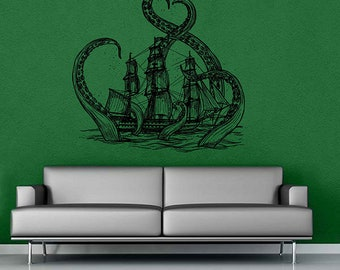 ship Wall Decals octopus Wall Decals Sea Boat Wall Decals for nursery playroom for kid's room for living room kik3413