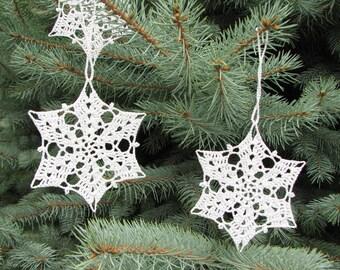 Crochet snowflakes silver gray (set of 6) Christmas home decors Christmas ornaments Wedding decors appliques