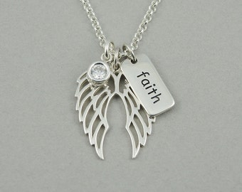 Angel Wing Necklace - Sterling Silver Christian Pendant Jewelry, Teacher Gifts, Charm Necklace, Trendy Necklaces, Birthday, Christian Gift