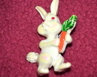 Vintage White Iridescent Bunny Pin for the 60's