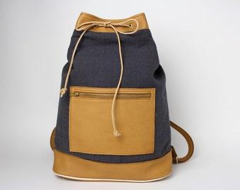 Backpack Coco blue & caramel