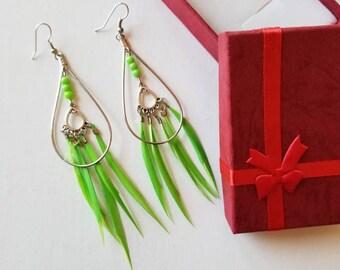 Bright Green Feather earring, Dangle earring.