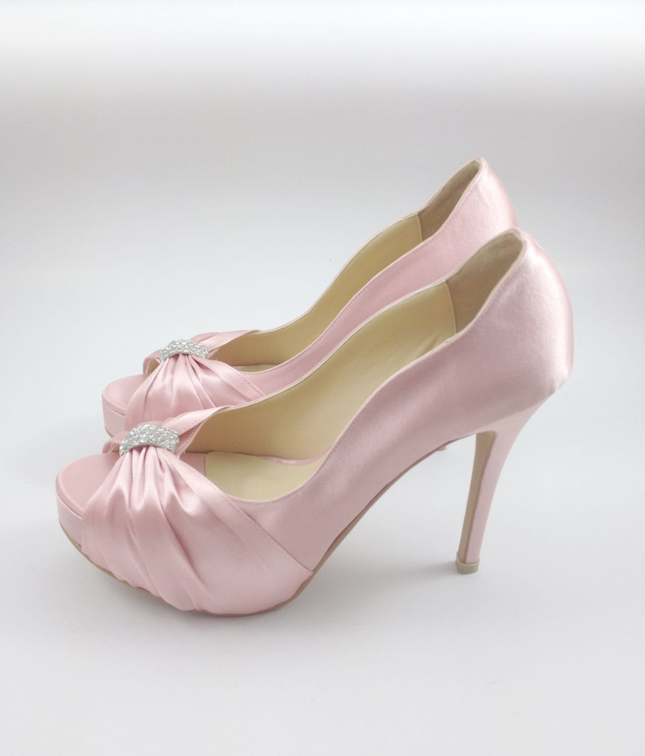 Pink Wedding Shoes with Rhinestones Pastel Pink Bridal
