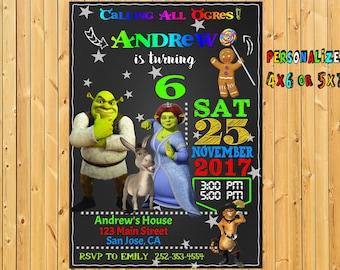 Shrek party, Shrek birthday invitation, Shrek invitation, Shrek invites, Shrek and fiona card, Fiona invitation, Shrek and fiona invitation