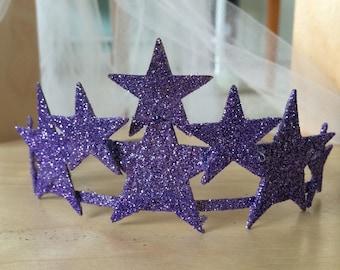 Purple sparkle star tiara glitter crown headband hair clip