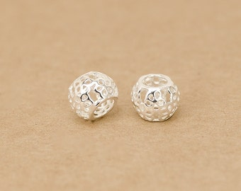 925 Sterling Silver tube beads big hole beads / Findings hollowed flower bead spacer