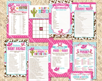 Cowgirl Baby Shower Games, Cowgirl Printable Baby Shower Game Girl, Words of Wisdom Cards Baby Bingo Cards, Price is Right Game Baby Shower
