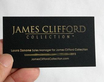 100 Business Cards - black 14PT matte stock - gold foil