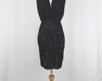 Vintage Pamela Dennis New York Couture Beaded French Lace Silk Halter Dress XS 0 2