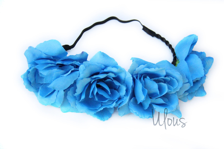 Blue flower crown flower crown flower headband coachella description faux flower crown izmirmasajfo Gallery