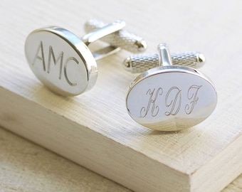 Engraved Oval Cufflinks ~ Wedding, Anniversary, Birthday, Father's Day Gift