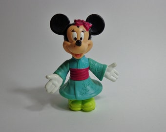 90s Disney Epcot Kimono Minnie Mouse Mini PVC Vinyl Toy Kids Meal Style Novelty Cake Topper Decoration, Collectible Figure from 1993
