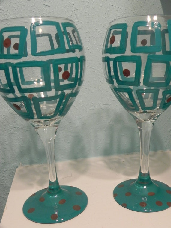 Square Design- Painted Wine Glass